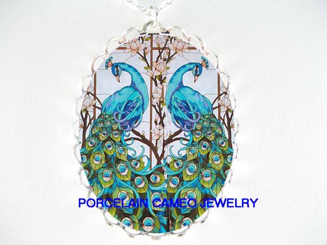 2 BLUE PEACOCK BIRD DOGWOOD PORCELAIN CAMEO NECKLACE