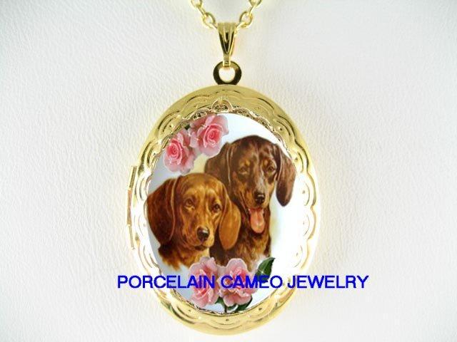 2 DACHSHUND DOG ROSE PORCELAIN CAMEO LOCKET SMALL SIZE