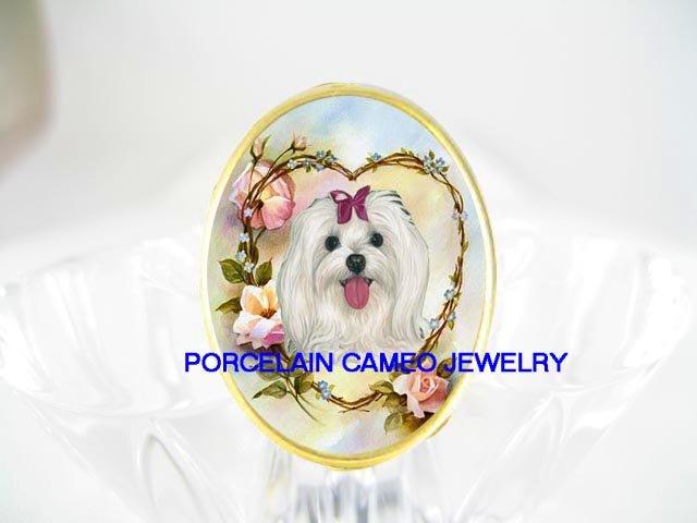 MALTESE DOG FORGET MENOT ROSE PORCELAIN CAMEO RING 5-9
