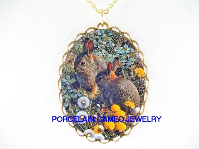 2 COTTONTAIL RABBIT BUNNY WITH DANDELION CAMEO NECKLACE