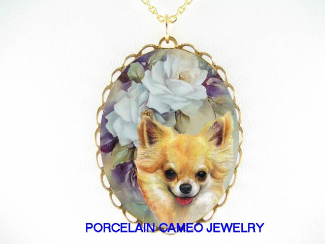CHIHUAHUA DOG VICTORIAN ROSE CAMEO PORCELAIN NECKLACE