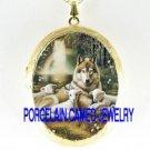 WOLF CUDDLE SHEEP LAMB RAINBOW PORCELAIN CAMEO LOCKET