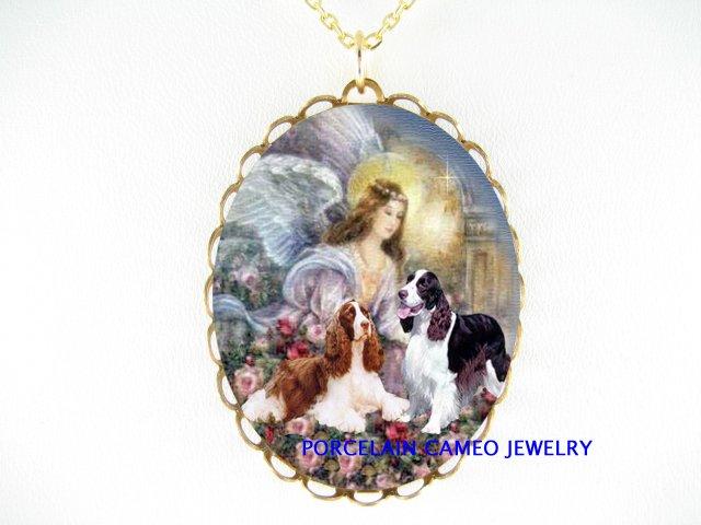 ANGEL 2 ENGLISH SPRINGER SPANIEL DOG PORCELAIN NECKLACE