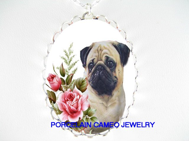 SWEET PUG WITH VICTORIAN ROSE PORCELAIN CAMEO NECKLACE