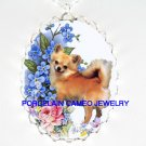 CHIHUAHUA DOG FORGET ME NOT ROSE* CAMEO PORCELAIN NECKLACE