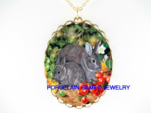 2 RABBIT BUNNY MOM BABY WITH APPLE CHERRY* CAMEO PORCELAIN NECKLACE