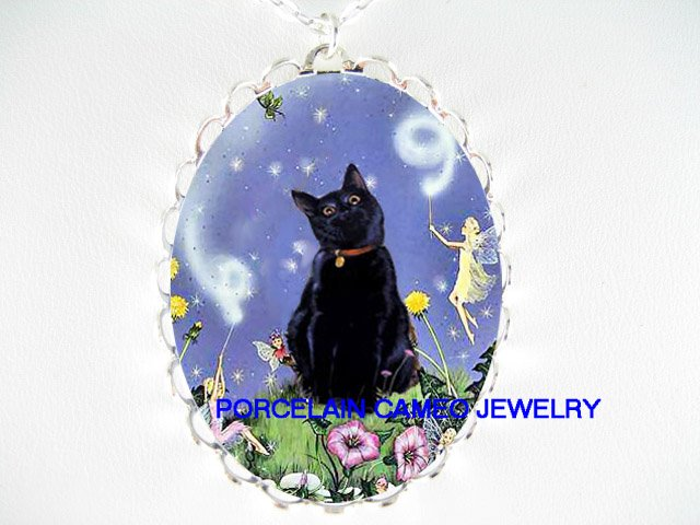 BLACK CAT WITH BUTTERFLY FAIRY PORCELAIN CAMEO NECKLACE