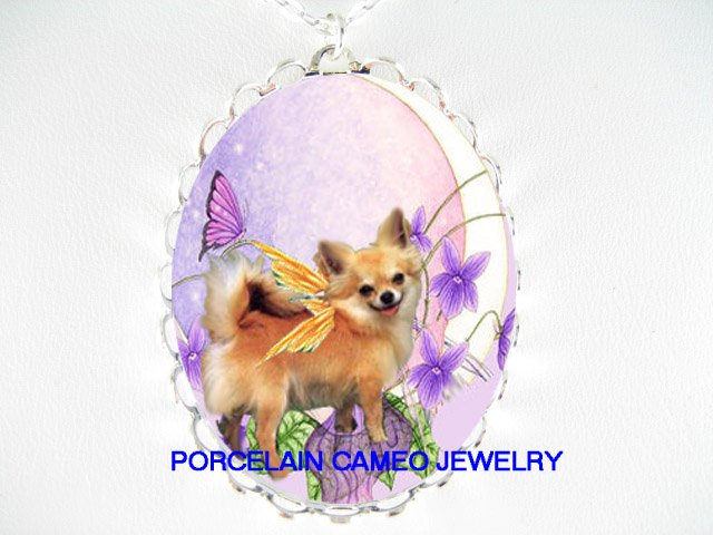 LONG HAIR BUTTERFLY FAIRY CHIHUAHUA DOG MOON NECKLACE