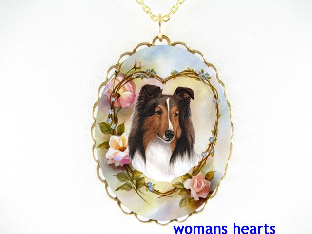 SHELTIE SHEEPDOG ROSE HEART PORCELAIN CAMEO NECKLACE