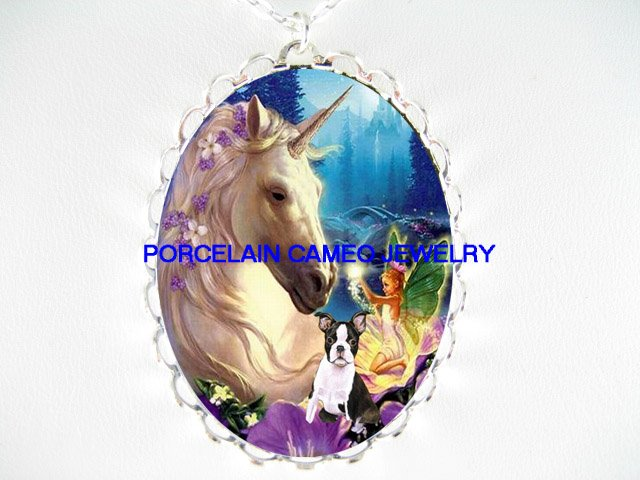 BOSTON TERRIER DOG FLORAL UNICORN FAIRY CAMEO NECKLACE