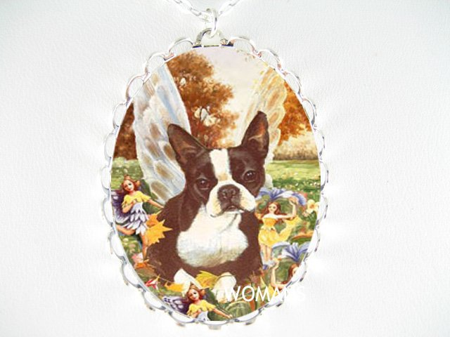 BOSTON TERRIER FAIRY DOG PLAYING WITH FAIRY * CAMEO PORCELAIN NECKLACE