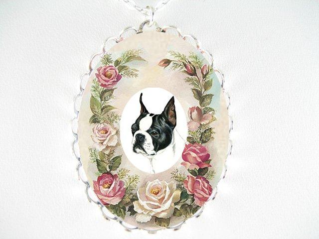 BOSTON TERRIER DOG PINK ROSE PORCELAIN CAMEO NECKLACE
