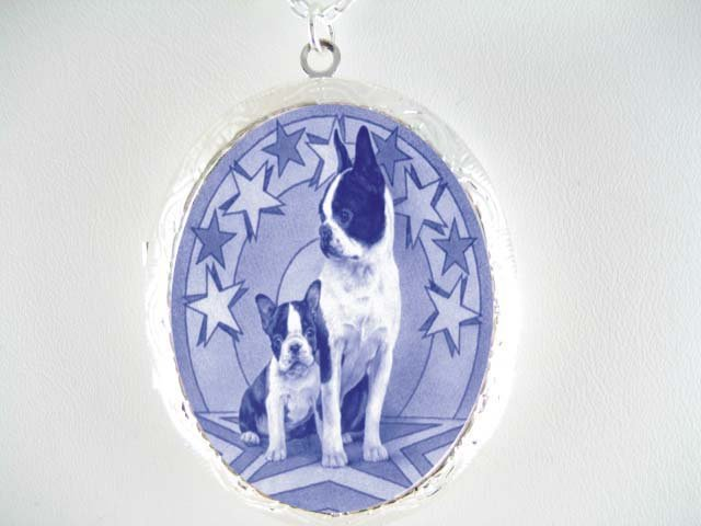 DANISH BLUE BOSTON TERRIER DOG PUPPY MOM * CAMEO PORCELAIN LOCKET NECKLACE