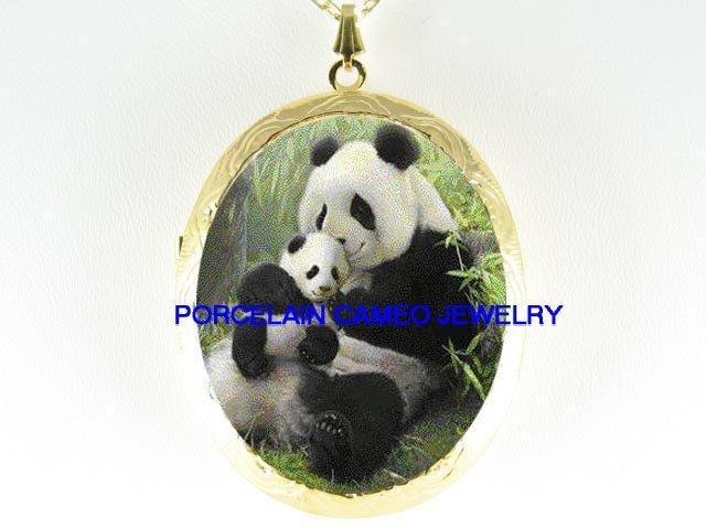 PANDA MOM CUDDLING BABY CUB PORCELAIN CAMEO LOCKET NECKLACE