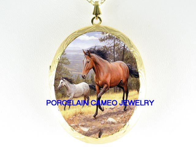 2 WHITE BROWN STALLION HORSE RUN PORCELAIN CAMEO LOCKET