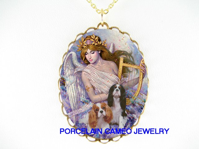 ANGEL CAVALIER KING CHARLES SPANIEL DOG CAMEO NECKLACE