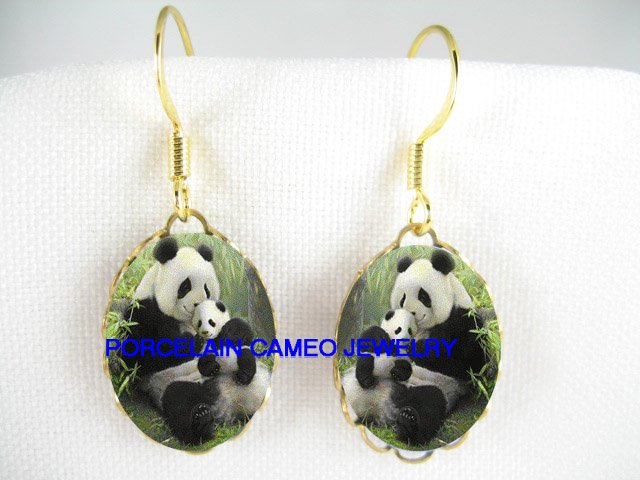 PANDA MOM KISSING BABY CUB CAMEO PORCELAIN EARRINGS