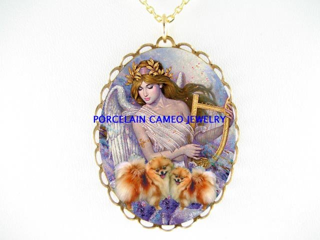 2 POMERANIAN DOG WITH ANGEL PORCELAIN CAMEO NECKALCE
