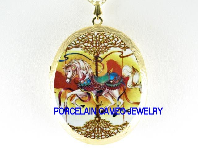 VICTORIAN CAROUSEL HORSE CAMEO PORCELAIN LOCKET NECKLACE