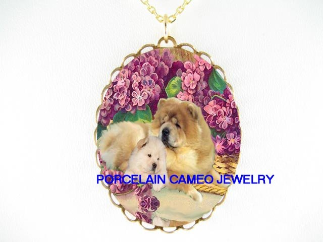 CHOW CHOW DOG MOM KISSING PUPPY VIOLET* CAMEO PORCELAIN NECKLACE
