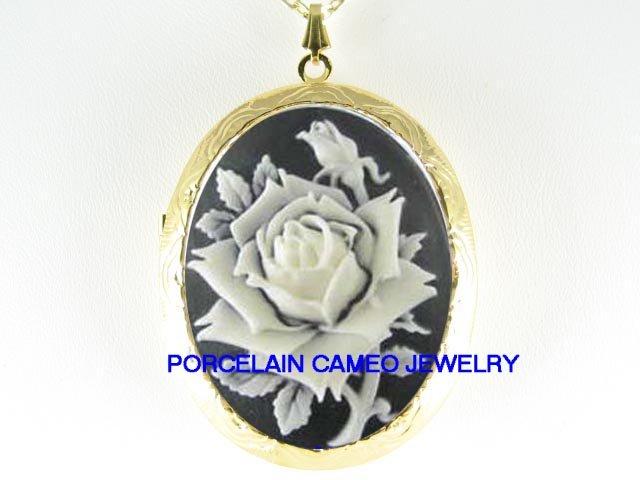 VICTORIAN BLACK WHITE ROSE VINTAGE CAMEO LOCKET NECKLACE