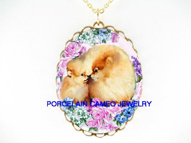 2 POMERANIAN DOG MOM KISSING PUPPY ROSE CAMEO NECKLACE