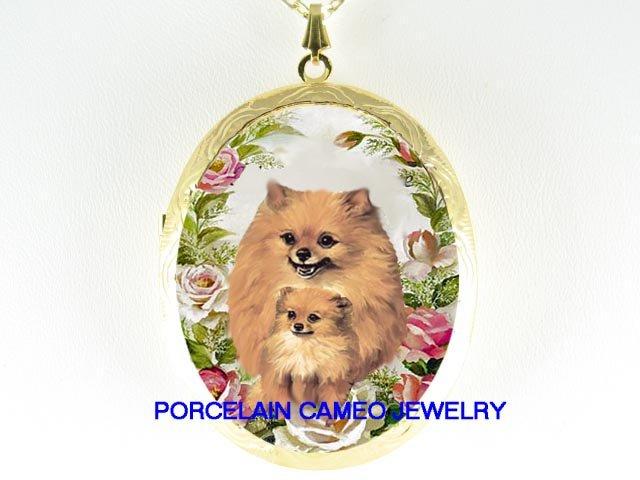 2 POMERANIAN DOG MOM PUPPY ROSE CAMEO LOCKET NECKLACE