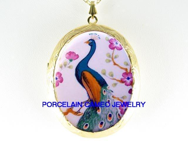 PEACOCK BIRD CHERRY BLOSSOMS CAMEO PORCELAIN LOCKET NECKLACE