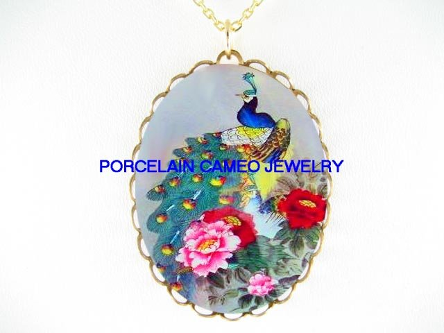 PEACOCK BIRD CHINESE PEONY CAMEO PORCELAIN NECKLACE