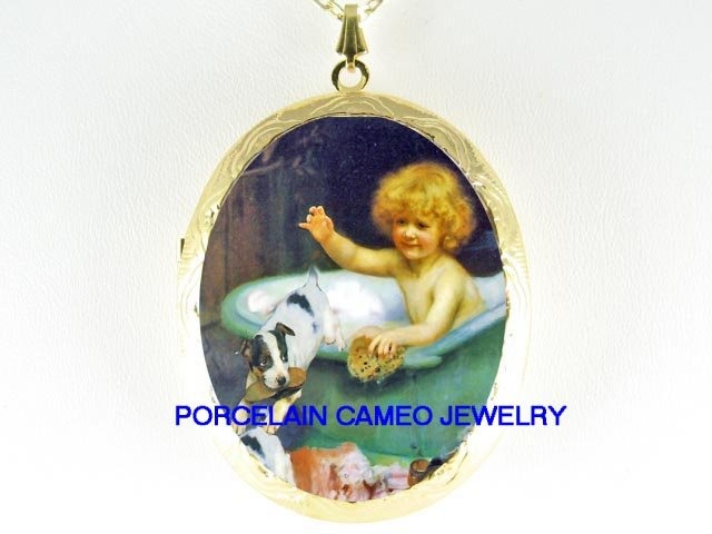 VICTORIAN GIRL BATH JACK RUSSELL DOG CAMEO PORCELAIN LOCKET NECKLACE