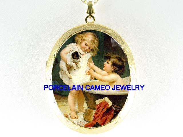 VICTORIAN SISTERS BATHING JACK RUSSELL DOG *  CAMEO PORCELAIN LOCKET NECKLACE