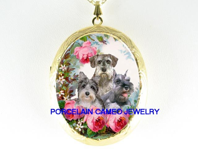 3 SCHNAUZER PUPPY DOG PORCELAIN CAMEO LOCKET NECKALCE
