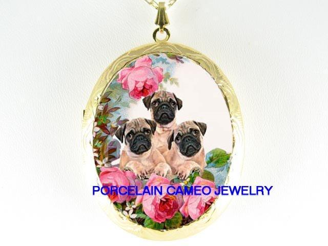 3 PUG DOG PUPPY ROSE CAMEO PORCELAIN LOCKET NECKALCE
