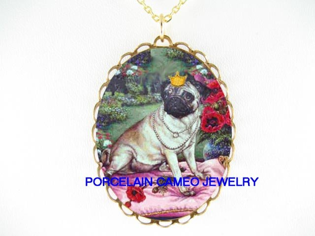 CROWN JEWELED PUG DOG POPPY PORCELAIN CAMEO NECKLACE