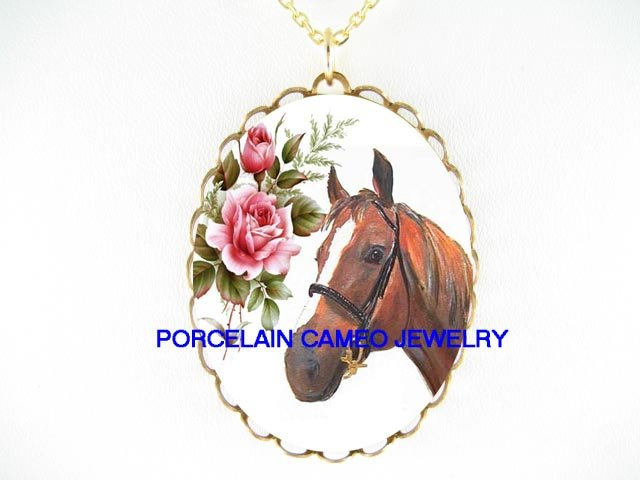 BROWN STALLION HORSE VICTORIAN ROSE PORCELAIN NECKLACE