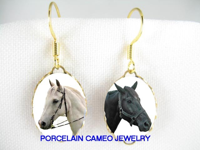 2 BLACK  WHITE STALLION HORSE  CAMEO PORCELAIN EARRINGS