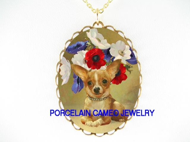 JEWELED CHIHUAHUA DOG COLORFUL POPPY FLOWER CAMEO PORCELAIN NECKLACE