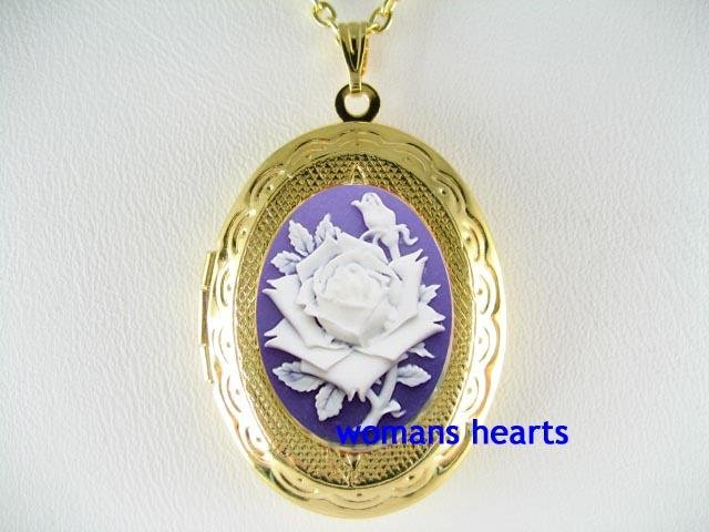 VICTORIAN PURPLE ENGLISH ROSE VINTAGE CAMEO LOCKET NECKLACE