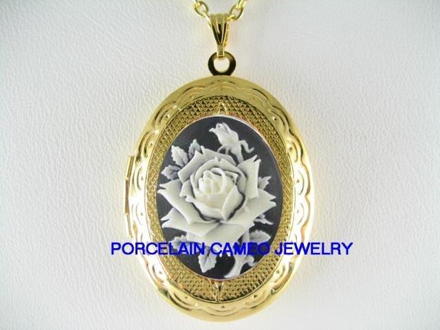 VICTORIAN BLACK WHITE ENGLISH ROSE VINTAGE CAMEO LOCKET NECKLACE