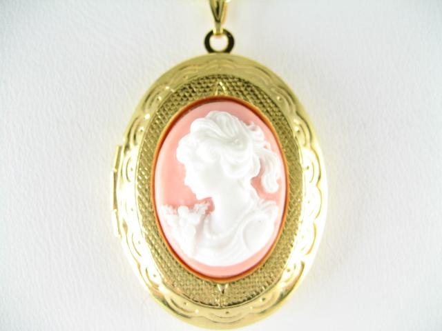 VICTORIAN PINK WHITE ROSE LADY VINTAGE CAMEO LOCKET NK