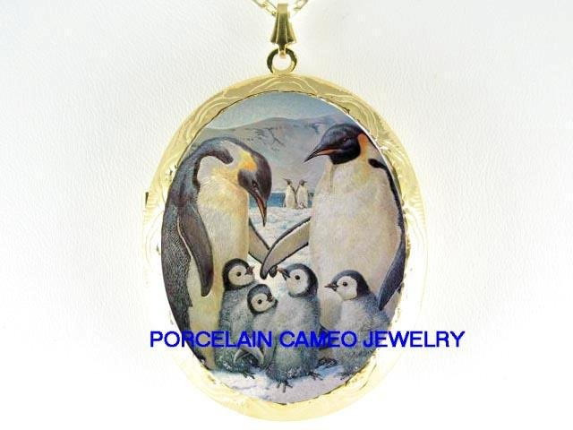 ONE HAPPY PENGUIN FAMILY CAMEO PORCELAIN LOCKET NECKLACE