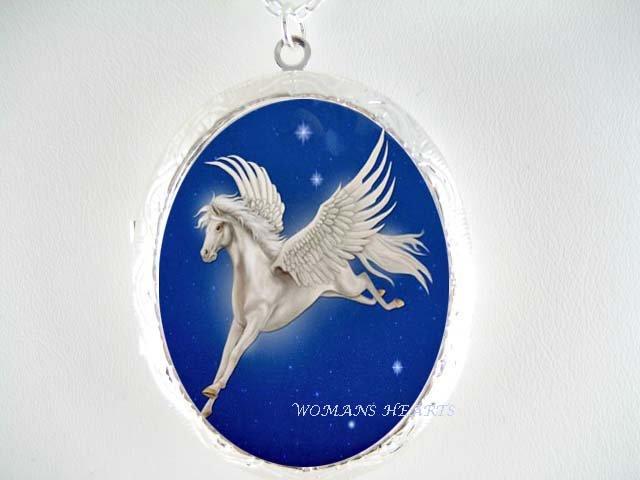 WHITE PEGASUS HORSE STARS * CAMEO PORCELAIN LOCKET NECKLACE