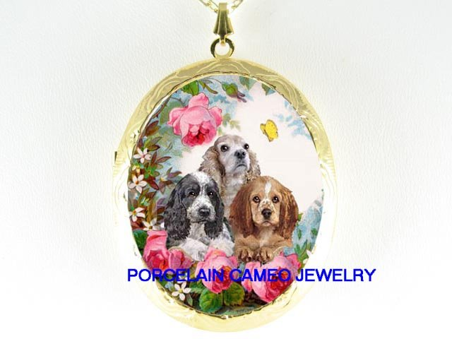 3 COCKER SPANIEL PUPPY DOG ROSE BUTTERFLY  * CAMEO PORCELAIN LOCKET NECKLACE
