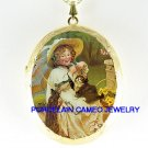 VICTORIAN GIRL PLAYING WITH 2 KITTY CAT *  CAMEO PORCELAIN LOCKET NECKLACE