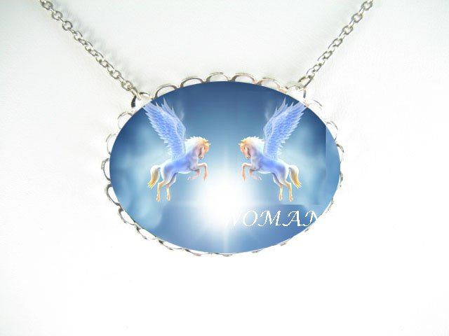 2 PEGASUS HORSE NORTH STAR CAMEO PORCELAIN NECKLACE