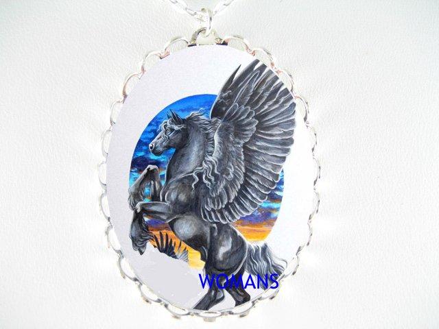 BLACK PEGASUS HORSE CAMEO PORCELAIN NECKLACE