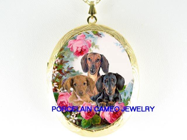 3 DACHSHUND DOG PUPPY DOG ROSE PORCELAIN CAMEO LOCKET