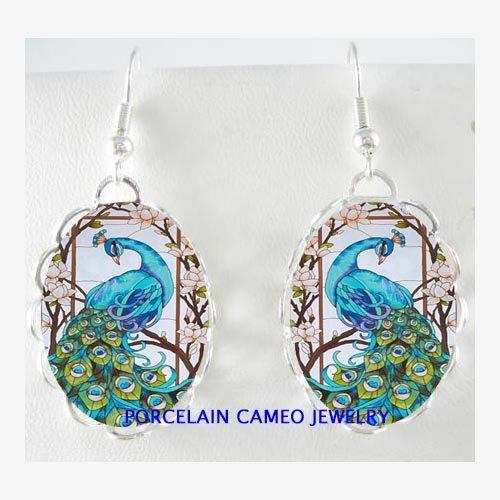 BLUE PEACOCK BIRD WITH DOGWOOD PORCELAIN CAMEO EARRINGS