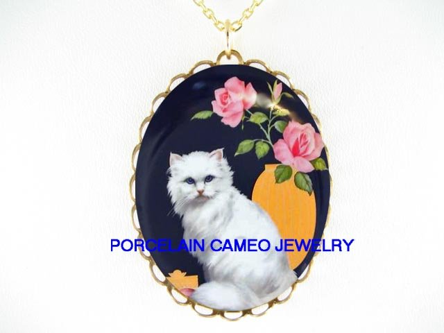 BLUE EYES WHITE PERSIAN CAT ROSE * CAMEO PORCELAIN NECKLACE