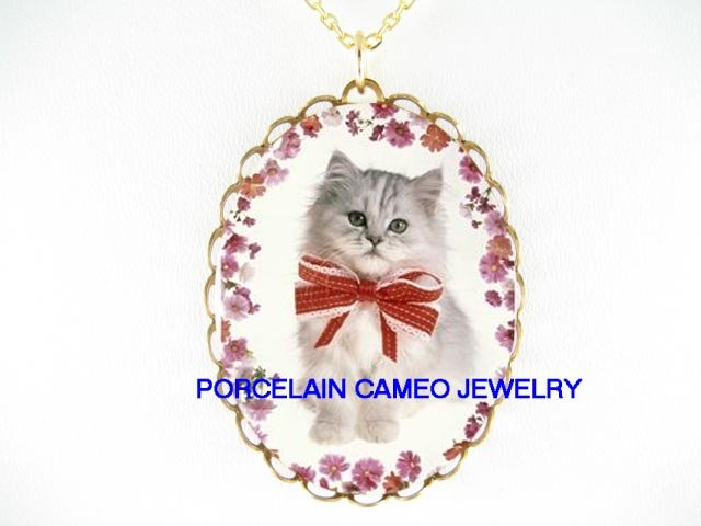 GREENE EYES GREY PERSIAN KITTY CAT * CAMEO PORCELAIN NECKLACE